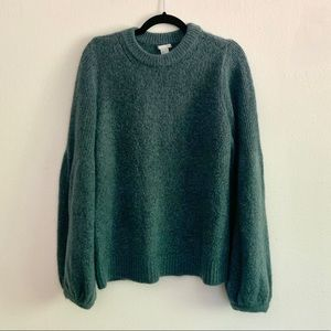 H&M   Green Knit Bell Sleeve Sweater Women's Large
